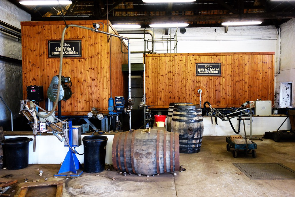 Cask filling station at Ardbeg Distillery, Islay.