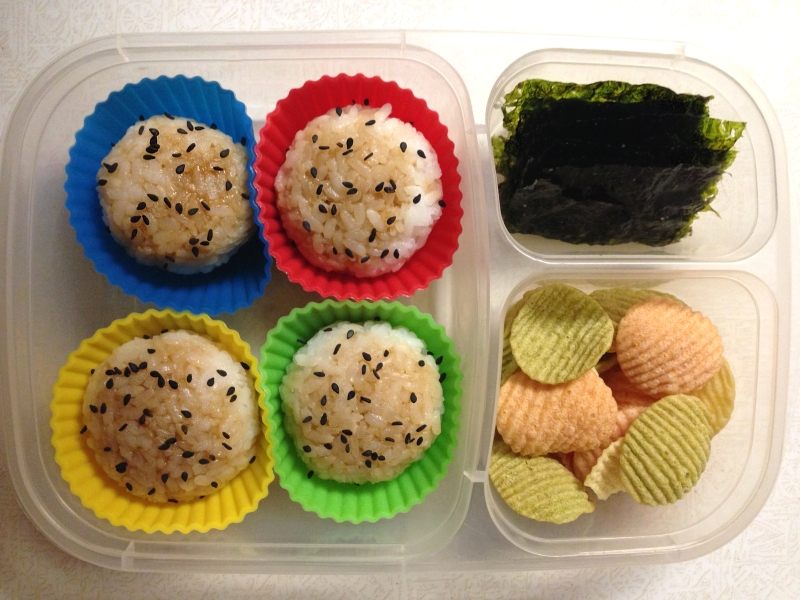 Stuffed rice balls, seaweed, & veggie chips