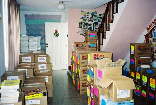 stacks of books in the house-office in Guatemala