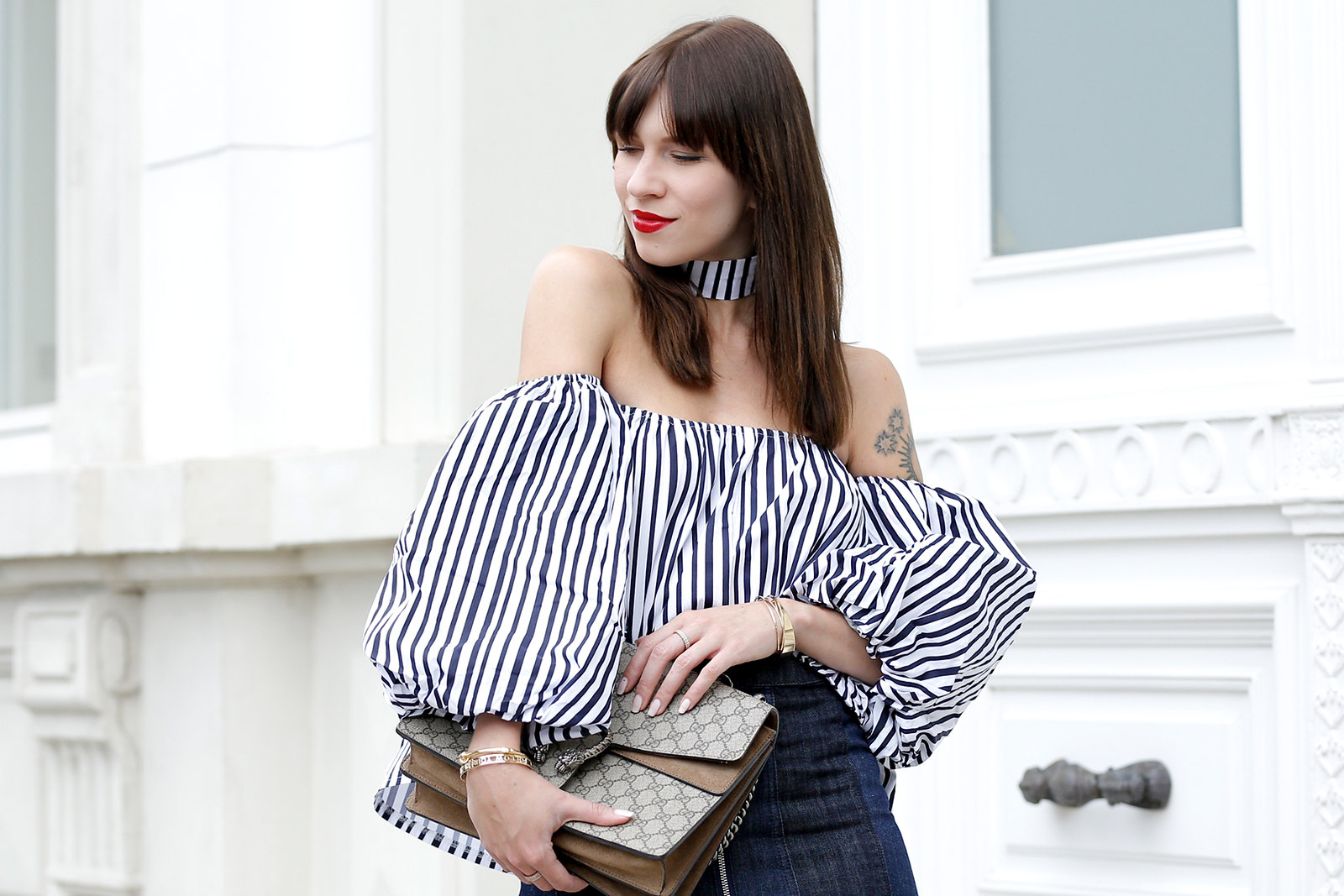ootd outfit potd lookbook storets off shoulder stripe blouse chic mini denim skit seventies gucci dionysus bag luxury blogger fashionblog cats & dogs modeblogger berlin ricarda schernus dusseldorf fashionblog 1