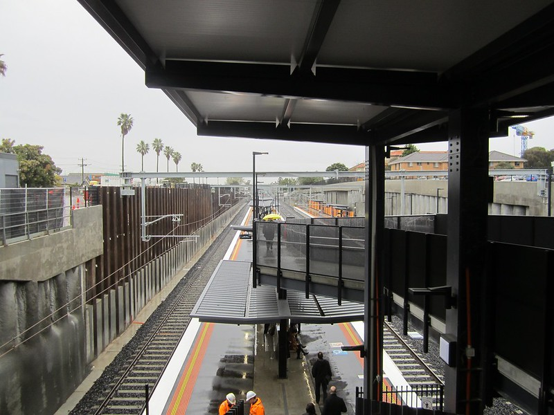 Bentleigh station in the rain, view from concourse