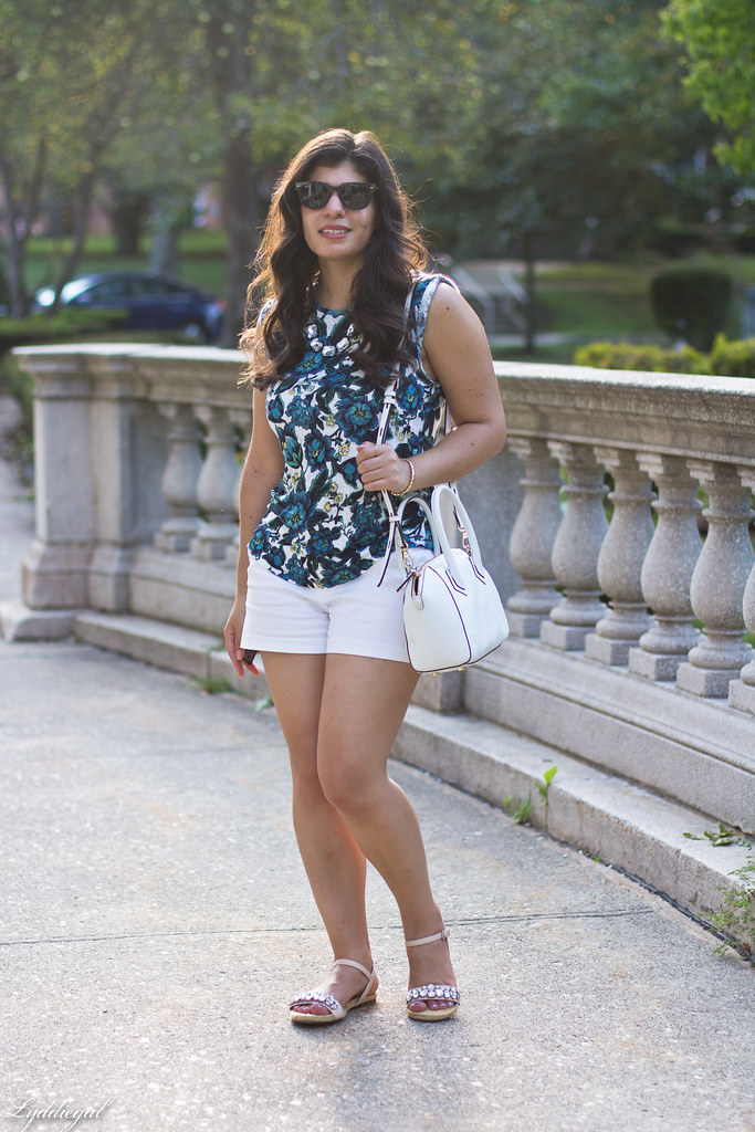 floral linen tee, white shorts, jeweled sandals-1.jpg
