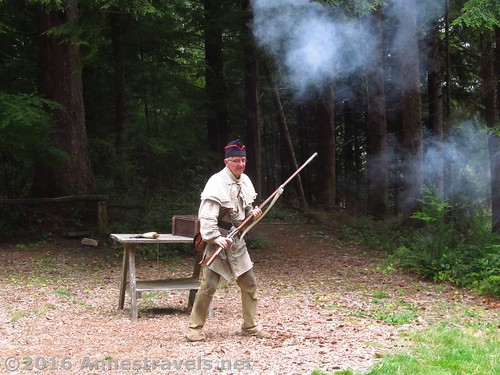 Just after a ranger shot off a flint lock gun at Fort Clatsop, Lewis and Clark National Historical Park, Oregon