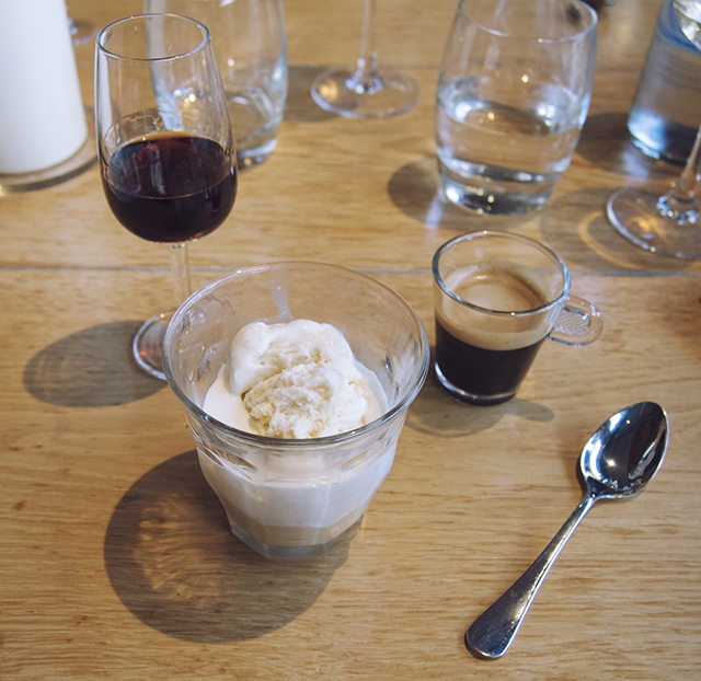 affogato dessert, served with a shot of Nespresso Ristretto