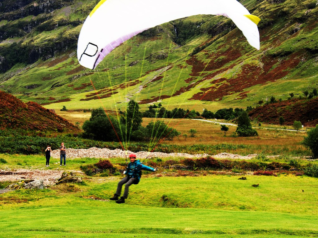Paraglider landing at Glencoe, Scotland