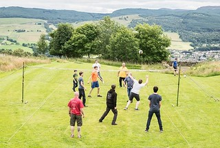 Playing Volleyball outside the bunkhouse (Aberfeldy to the right in the background)