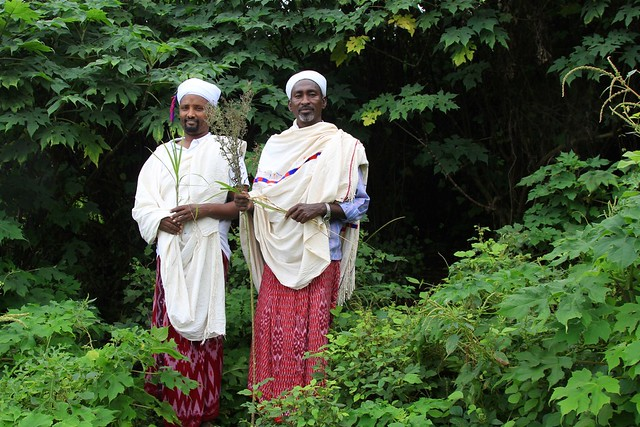 two men in traditional Kenyan herder dress