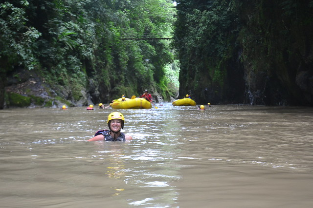 floating in the Rio Pacuare gorge