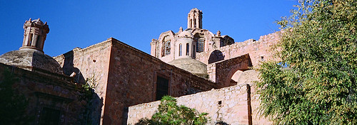 Ruins of a church and a modern art gallery in Zacatecas, Mexico