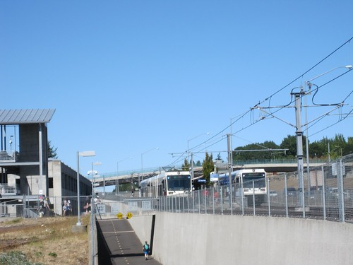 Two interurbans at the end of the line by Clackamas Towne Center