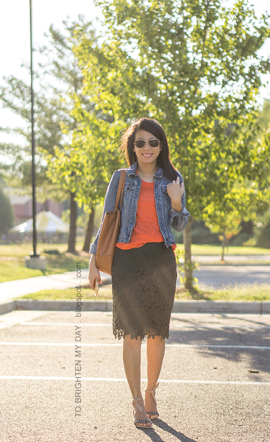 denim jacket, orange lace tank, olive green lace pencil skirt, cognac brown tote, ankle tie jeweled sandals
