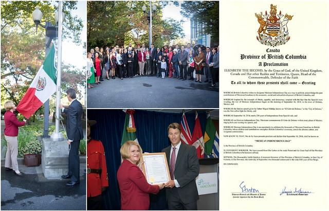 El Alcalde de Vancouver iza la bandera mexicana y entrega proclama