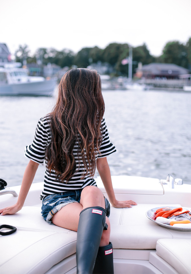 nautical boating sailing outfit_jcrew striped tee_dark balayage
