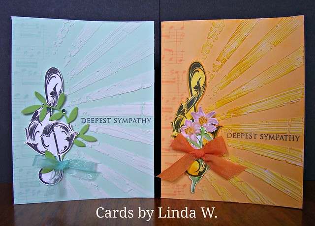 Pair of Treble clef sympathy cards