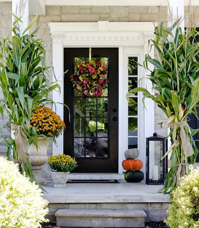 Fall Front Porch Decor Pumpkins Corn Stalks