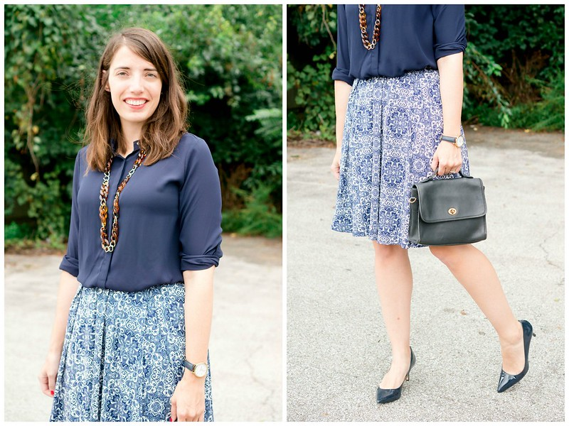 navy blouse + tortoise shell necklace + navy and white print Lularoe skirt + navy accessories; fall work outfit | Style On Target blog