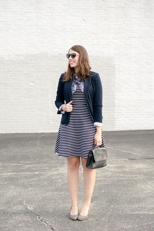 navy and white stripe dress + navy blazer + bandana scarf + gray wedge heels; Style On Target blog