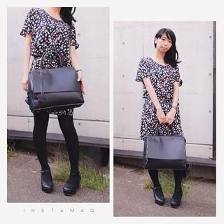 ディレクターズさんから頂いたノベルティのバッグ、斜めがけ/手持ちはこんな感じ(●'ω'●)  #bag #fashion #coordinate #ootd  #noteファッション部