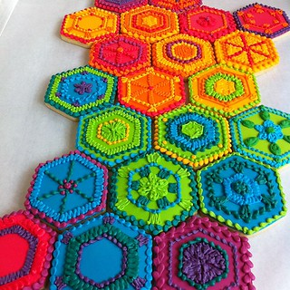 Rainbow hexagon cookies inspired by crocheted afghans! | by Whipped Bakeshop