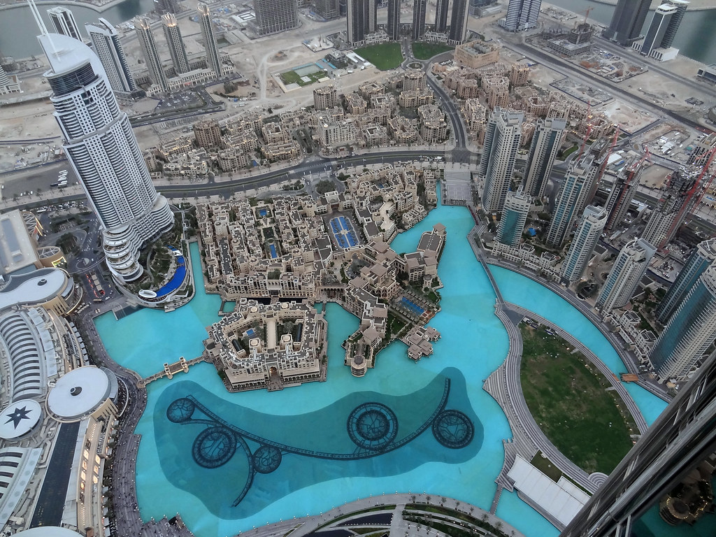 At the Top. View from Burj Kahalifa. Dubai Fountain and hotel The Address.