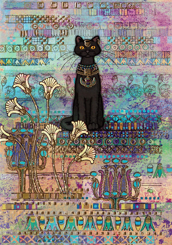 Egyptian black cat postcard