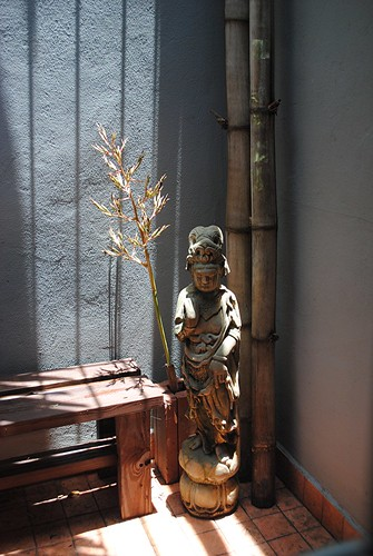 Shadowy zen shower in our Jungle Home... Quan Yin on a lotus | by jungle mama