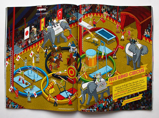 Five Ring Circus - 2020 Olympic Games Feature in Podium Magazine - Illustration by Rod Hunt | by Rod Hunt Illustration