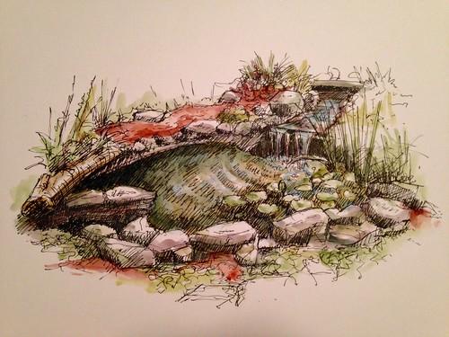 Pond sketch, Nathanael Greene Park.