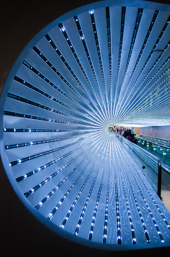 Light display at the moving walkway at the NGA | by Alaskan Dude