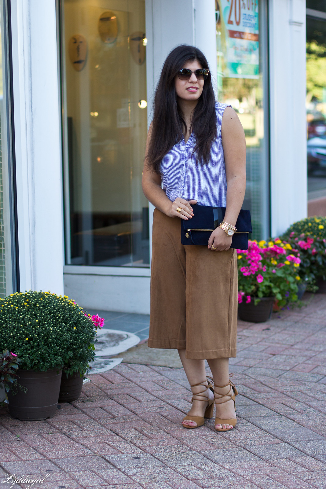 striped shirt, brown suede culottes, clare v clutch-1.jpg