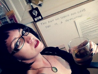 The now: me in my office, late night blogging, bourbon, Bowie. | by violet.blue