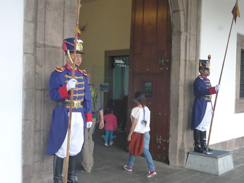 Entering the presidential palace