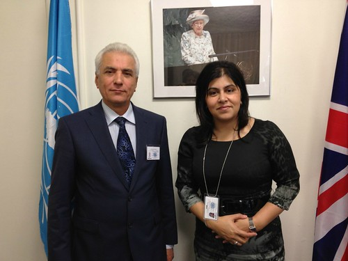 Baroness Warsi meets with Mr Hamrokhon Zarifi, Foreign Minister of Tajikistan, during Ministerial week at the UN General Assembly | by UKUnitedNations
