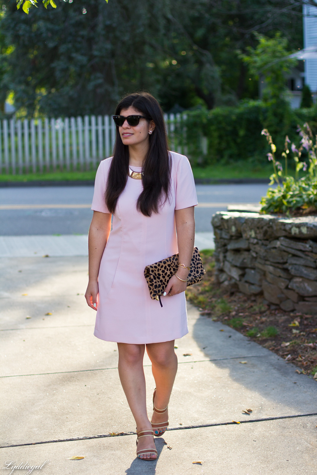 pink sheath dress, clair v leopard clutch, gorjana vista cuff-3.jpg