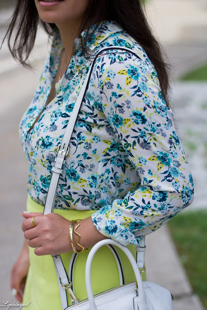 floral blouse, neon skirt, white bag, gorjana vista cuff-6.jpg