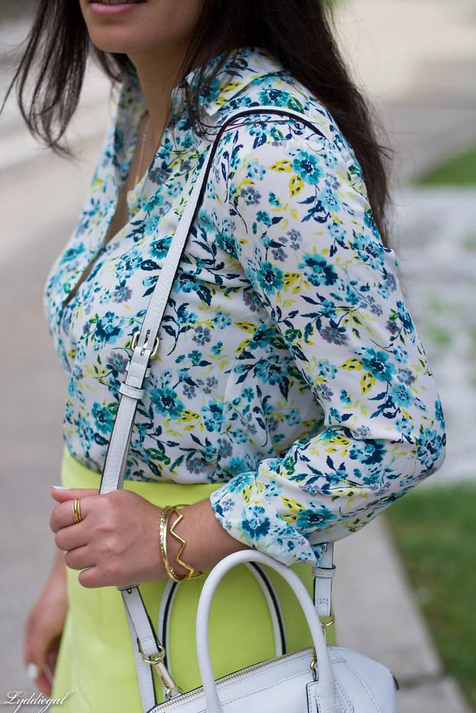 floral blouse, neon skirt, white bag, gorjana vista cuff-6.jpg