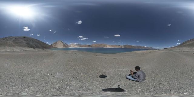 360x180 view of western side of Pangong Lake (14,270')