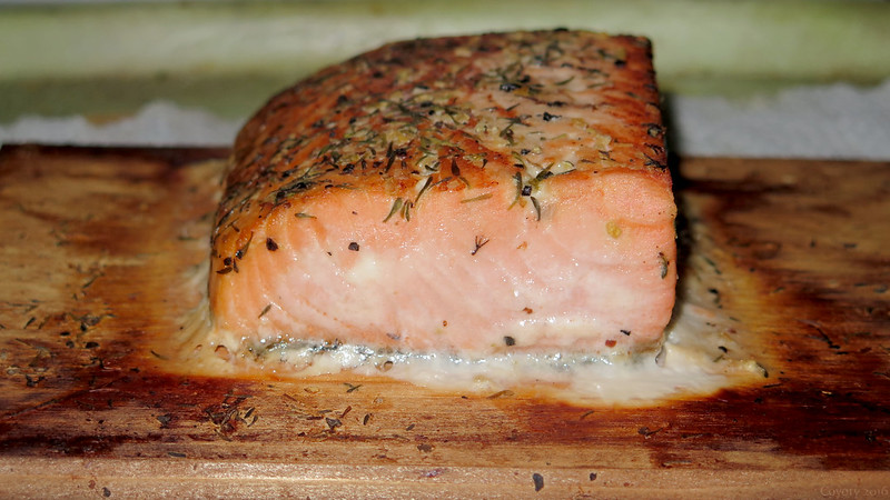 Trader Joe's Seasoned King Salmon on a Cedar Plank