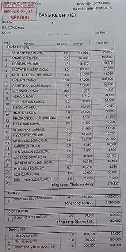 chi tiết chi phí sinh tại bệnh viện phụ sản Mekong - trang 1
