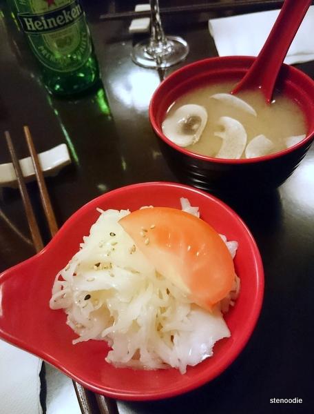 Mushroom soup and salad