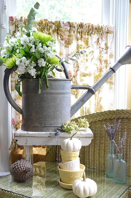 Vintage Watering Can - Flower Pot Topiary - Sunroom - Housepitality Designs