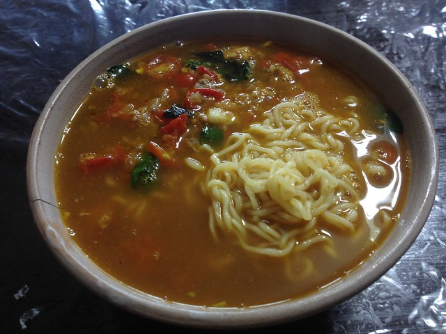 Chinese noodles of tomato and miso