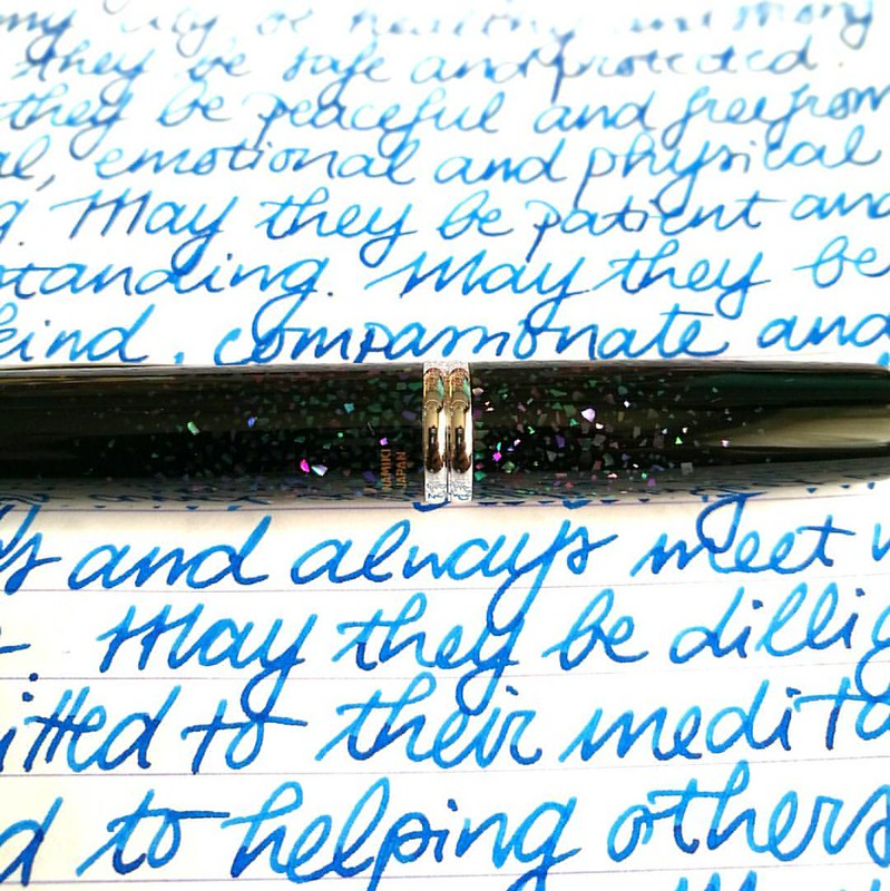 Giving this one a second chance and bringing it back into rotation. I don't like the clip placepent of the VP (it affects my grip on the pen) but this pen body material sure is really pretty.