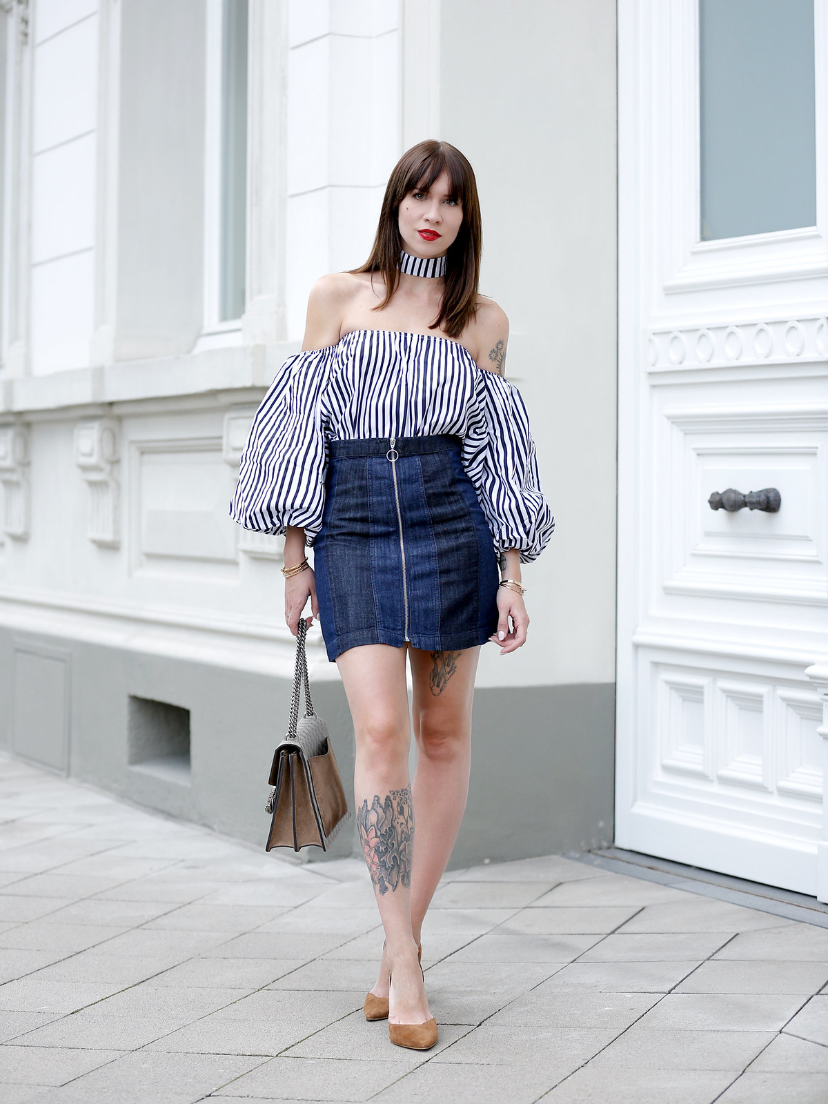ootd outfit potd lookbook storets off shoulder stripe blouse chic mini denim skit seventies gucci dionysus bag luxury blogger fashionblog cats & dogs modeblogger berlin ricarda schernus dusseldorf fashionblog 6
