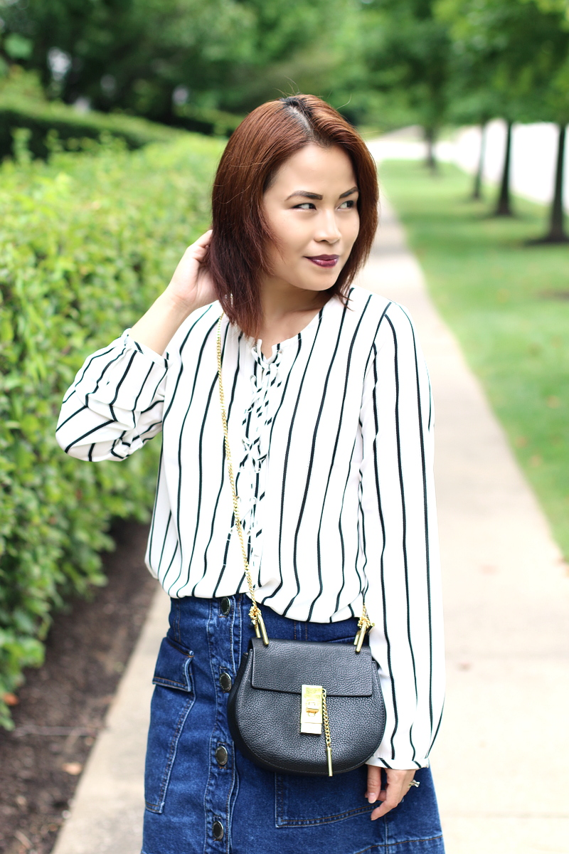 Versona lace up top, stripes, denim skirt