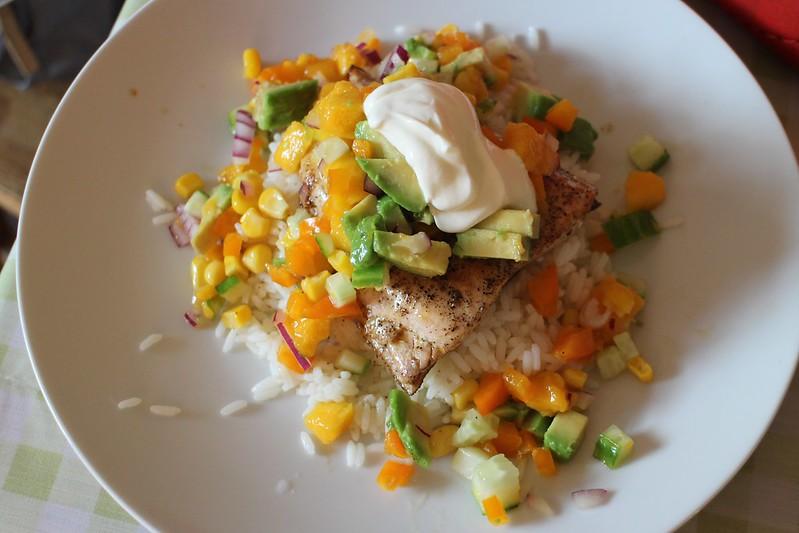 Salmon and mango salsa