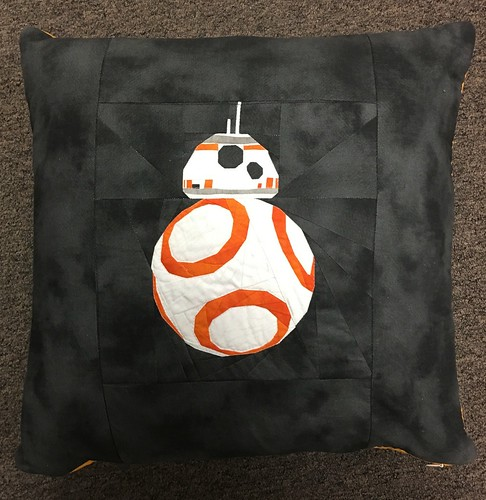 BB8 pillow cover.  Pattern by Vanda Chittenden