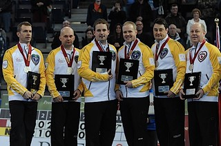 Edmonton Ab.Mar10,2013.Tim Hortons Brier.Manitoba skip Jeff Stoughton,third Jon Mead,second Reid Carruthers,lead Mark Nichols,Alt Garth Smith,Rob Meakin.CCA/michael burns photo | by seasonofchampions
