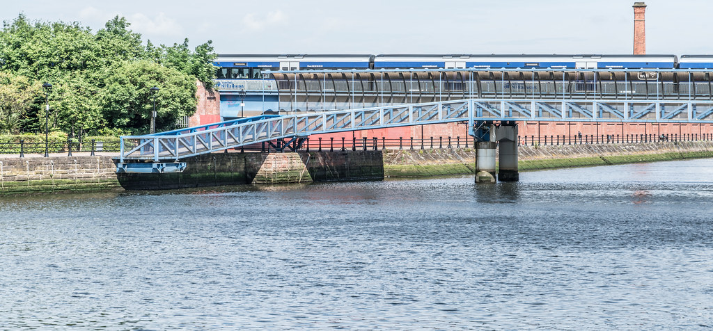 LAGAN RAILWAY PLUS PEDESTRIAN BRIDGE IN BELFAST [TWO FOR THE PRICE OF ONE]--121116
