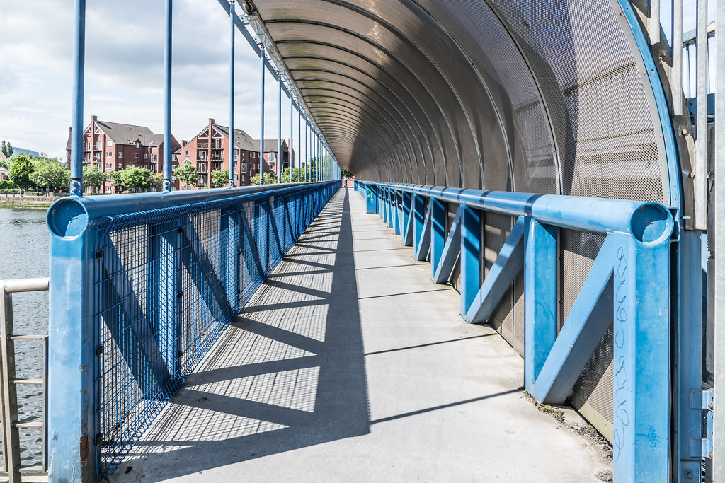 LAGAN RAILWAY PLUS PEDESTRIAN BRIDGE IN BELFAST [TWO FOR THE PRICE OF ONE]--121122